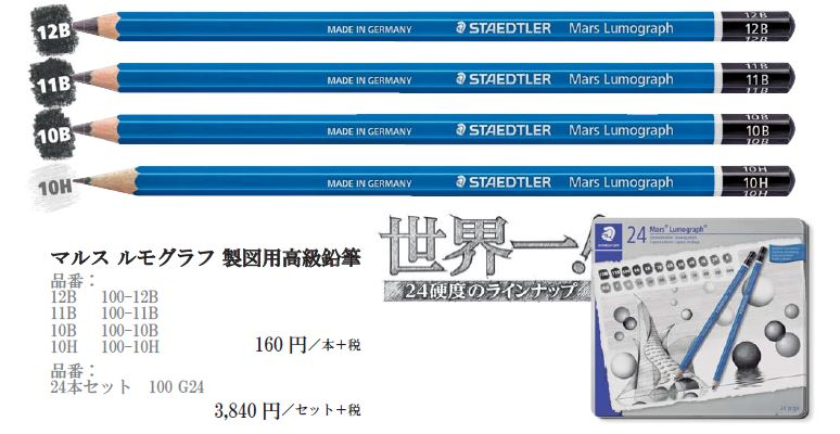 【新製品】100 マルス ルモグラフ 製図用高級鉛筆 世界一の全24硬度へ